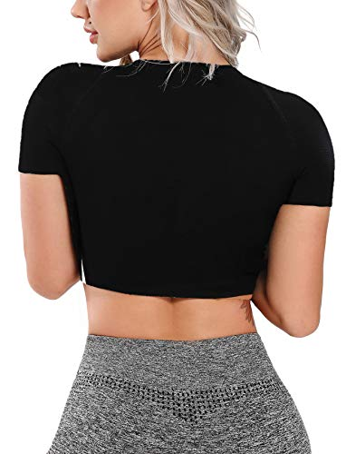 Women's Yoga Gym Crop Top Compression Workout Athletic Short/Long Sleeve Shirt