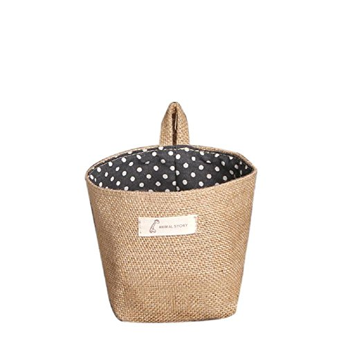 Storage Bag ,IEason Clearance Sale! Polka Dot Small Storage Sack Cloth Hanging Non Woven Storage Basket (Black)