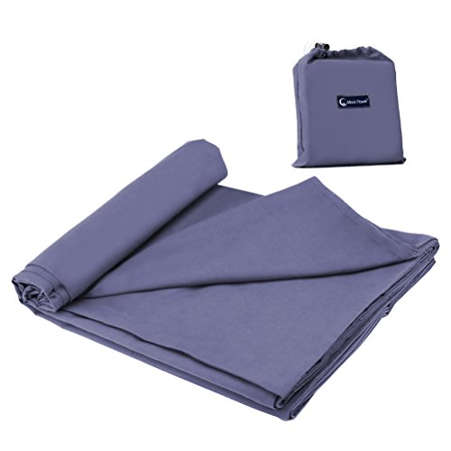 Travel and Camping Sheet Sleep Sack Cotton Sleeping Bag Liner Lightweight Warm Roomy for Camping, Travel, Youth Hostels, Picnic 82.7 X 45 Inch,Grey Blue ()