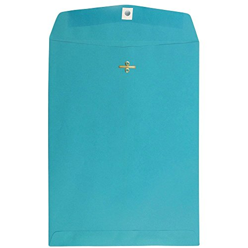"""JAM Paper 9"""" x 12"""" Open End Catalog Envelope with Clasp Closure - Sea Blue Recycled - 10/pack"""