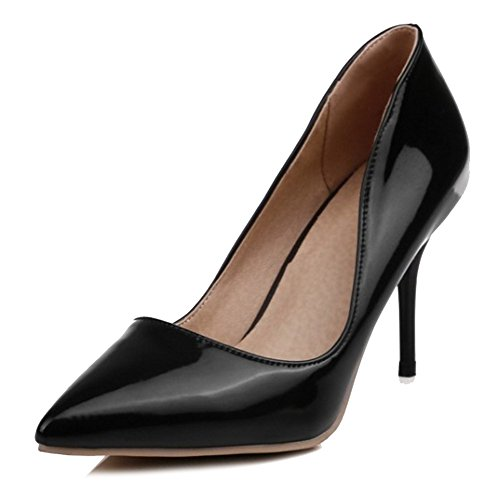SJJH Elegant Women Court Shoes with Pointed Toe and Thin Heel 6-Colors All Macth Women Court Shoes Black ZEIeovWoen
