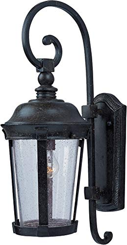 Maxim 3023CDBZ Dover Cast 1-Light Outdoor Wall Lantern, Bronze Finish, Seedy Glass, MB Incandescent Incandescent Bulb , 100W Max., Dry Safety Rating, Standard Dimmable, Glass Shade Material, 5750 Rated Lumens
