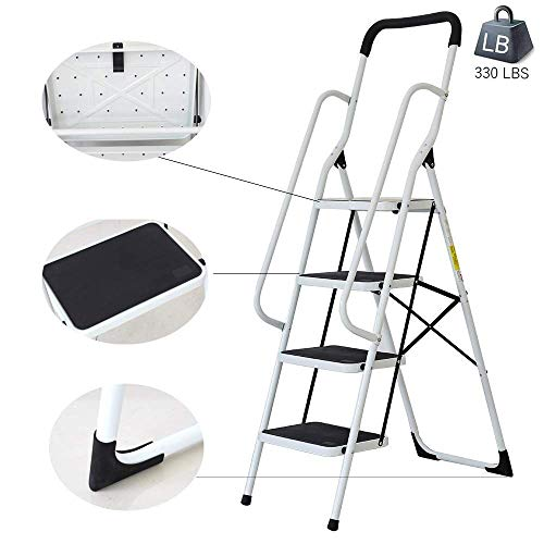 Dporticus Anti-Slip Portable 4 Step Ladder with Wide Pedal and Sturdy Handrails Folding Safty Steel Step Stool Multi-Use for Household Market Office,330LBS - Grip 4 Step