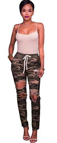 Washed Femmes BF Bodycon camouflage Skinny Distressed Fille Destroyed Ripped Pantalons Denim Style Camouflage Pants Jeans BXBqU4Snr