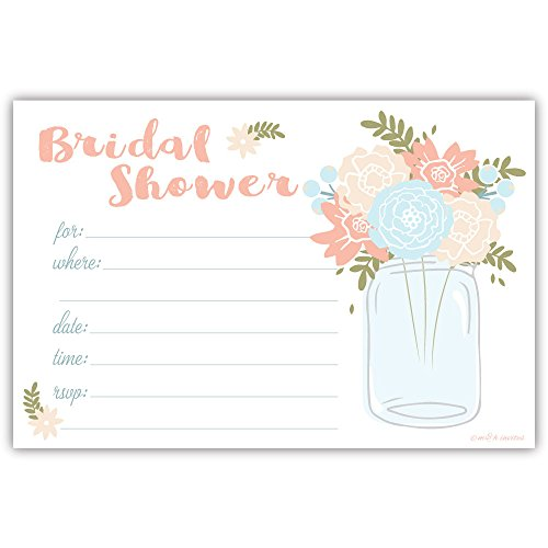Mason Jar Bridal Shower Invitations - Fill In Style (20 Count) With (Fill In Bridal Shower Invitations)