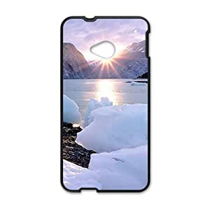 Personalized Creative Cell Phone Case For HTC M7,sunshine snow mountains and ice river winter scene