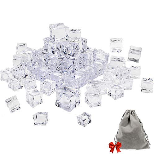 (Whonline 50PCS Clear Fake Acrylic Ice Cubes Square Shape for Photography Props or decorations, with 1 Large Velvet Storage Pouch (30PCS 1.12