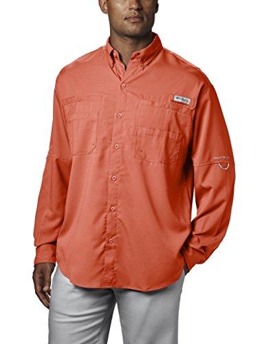 Columbia Mens Plus Tamiami II Long Sleeve Shirt, Bright Peach - Large Tall