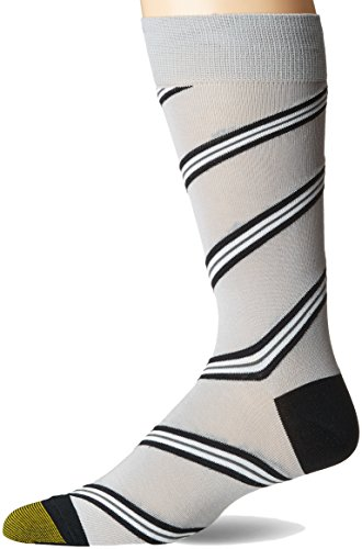 1 Patterned Dresses - Gold Toe Men's Patterned Fashion Dress Crew Socks, 1 Pair, Grey and Blues Striped, Shoe Size: 6-12.5