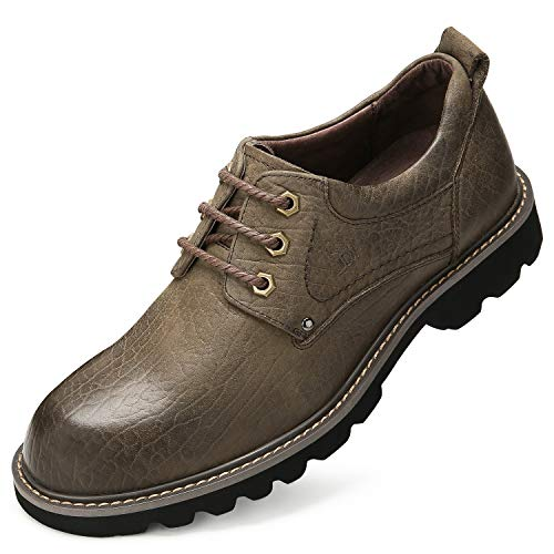 CAMEL CROWN Men's Leather Boots Casual Stylish lace up Work Shoes Fashion Comfortable Business Slip Resistant Ankle Boots Brown