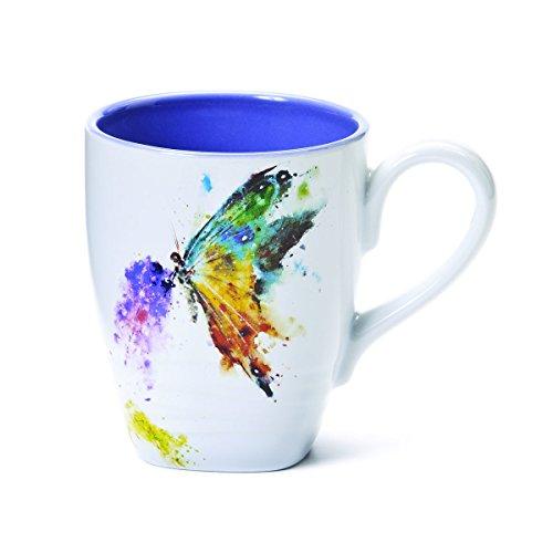 Big Sky Carvers Dean Crouser Kaleidoscope Butterfly Stoneware 16 Ounce Mug (Sky Mug Blue)