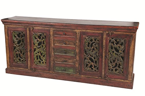 Moti Furniture Arvada Buffet with 4 Carved Doors 5 Drawers