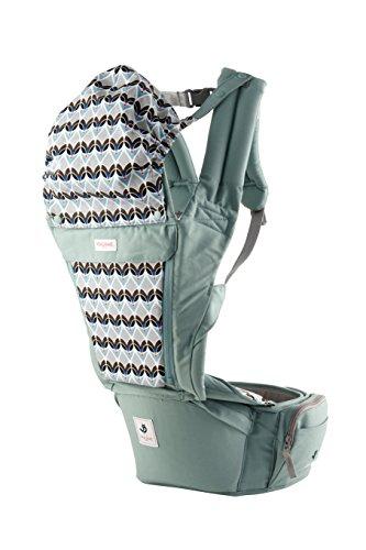 Pognae Orga Plus Hipseat Front Backpack Carrier Ergonomic Design 100% Organic Cotton (Cabbage)