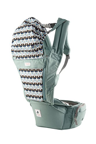 Pognae Orga Plus Hipseat Front Backpack Carrier Ergonomic Design 100% Organic Cotton (Cabbage)