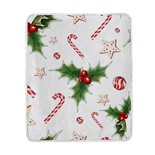 SEULIFE Blankets Christmas Candy Cane Holly Leaf Star, 50 x 60 inches Throw Size Blanket Lightweight Warmer Soft for Home Bed Sofa Office ()