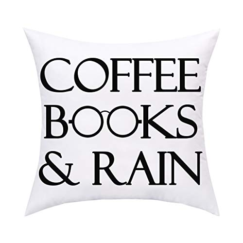 BLEUM CADE Coffee Books and Rain Throw Pillow Cover Cushion Covers Pillowcase Throw Pillow Case for Sofa Couch Bed and Car