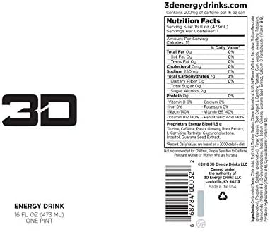three-D Energy Drink | Caffeine, Zero Sugar, Taurine, Panax Ginseng, Inositol, Guarana Seed, L-Carnitine Tartrate, 16 Fluid Ounce | 12 Pack (White)