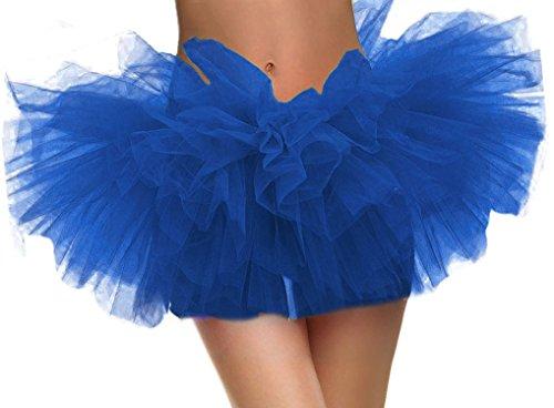 Blue Tutu Costume (Women TutuRetro 5 Layers Tulle Cosplay Costume Tutus for Women, Royal Blue Tutu)