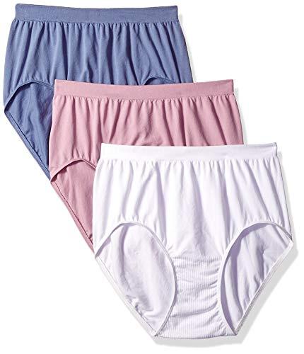 Bali Women's Comfort Revolution Brief Panty 3-Pack, White/Chateau Blue/Elegant Mauve, 9 ()