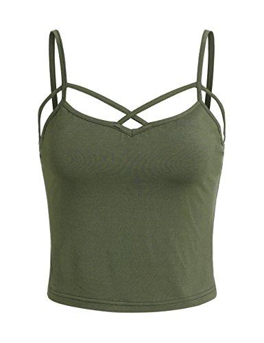 SweatyRocks Women's Spaghetti Strap Crop Top Criss Cross Camisole Tank Tops (Small, Army Green)