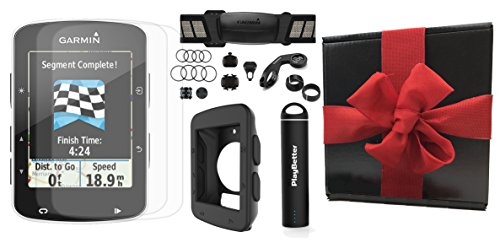 Garmin Edge 520 Gift Box Bundle | with PlayBetter Silicone Case, Portable Charger & HD Screen Protectors | Bike Mounts | GPS Bike Computer (+Chest HRM +Speed/Cadence Sensors, Black Case, Gift Box) by PlayBetter