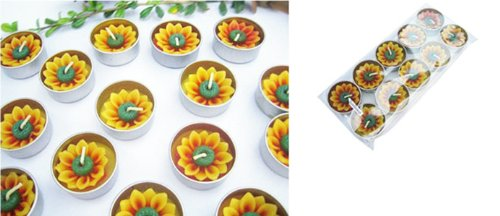 Thai Spa Candle , Relaxed Aroma Candle Sunflower in Tealight with Aluminium Grommet Holder Thai Product Tealight Holder Case