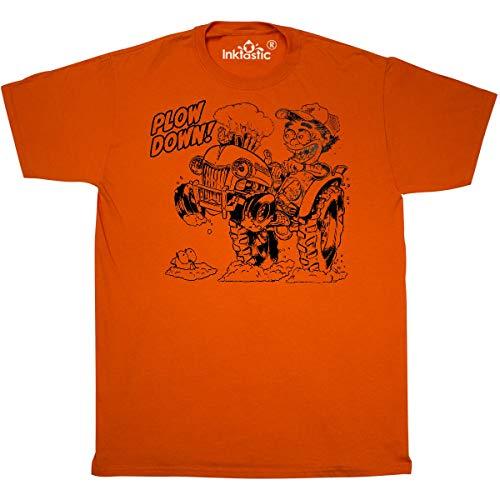inktastic - Hot Roddin' Rod on a Tractor 'Plow Down' T-Shirt Small Orange 3602c