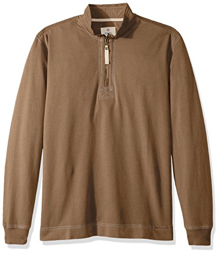 True Grit Men's Cotton Washed Heather Fleece Pullovers with Stitch Details, Dark Rye/Zip, M