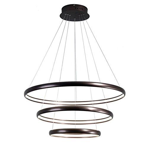GRFH Post Modern Living Room Acrylic Chandelier Restaurant Pendant Lamp Bedroom Studio Chandelier LED Toroidal Personality Pendant Lamp Triple Ring Combination 40+60+80cm