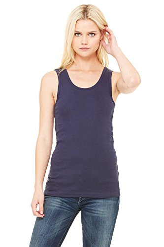 Bella + Canvas Ladies Baby Rib Tank - NAVY - S - (Style # 1080 - Original Label)