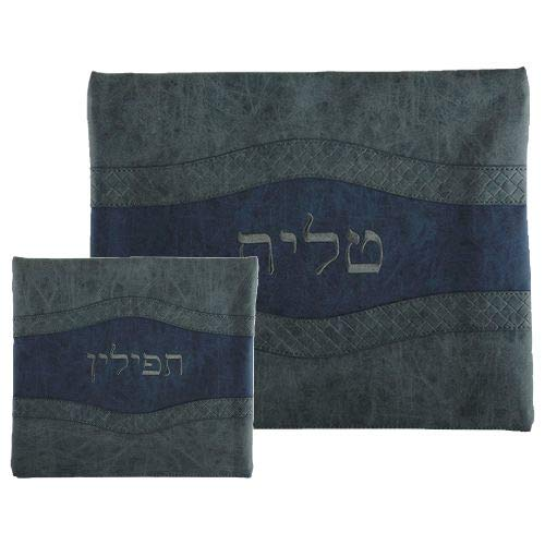 Tallis and Tefillin Bag Set - Faux Leather Grey & Blue Wave Design