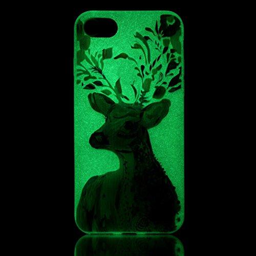 iPhone 7 / 8 Hülle mit Fluoreszenz , Modisch Hirsch Transparent TPU Silikon Schutz Handy Hülle Handytasche HandyHülle Etui Schale Schutzhülle Case Cover für Apple iPhone 7 / 8