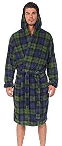 Wanted Men's Bathrobe Hooded Robe Plush Micro Fleece with Front Pockets (Navy/Green Blackwatch Plaid, Large/X-Large)