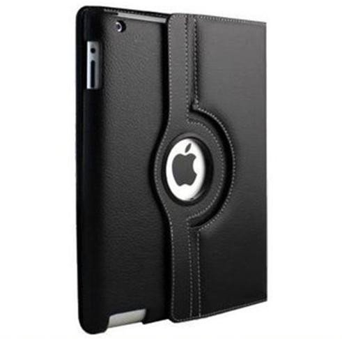 Ctech 360 Degrees Rotating Stand (Black Embossed Flower) Luxury Leather Case for Apple iPad 2 with Smart Cover Wake/Sleep Function
