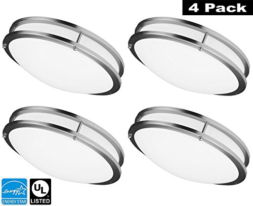 Luxrite LR23093 (4-Pack) 18W 12 Inch LED Flush Mount Ceiling Light, Chrome Finish, Cool White 4000K, 1260 Lumens, Dimmable, ENERGY STAR Qualified, UL-Listed