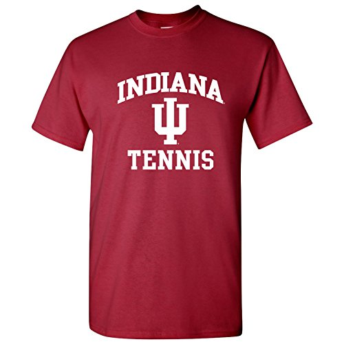 UGP Campus Apparel AS1103 - Indiana Hoosiers Arch Logo Tennis T-Shirt - Large - (Cardinal Red Tennis Arch)
