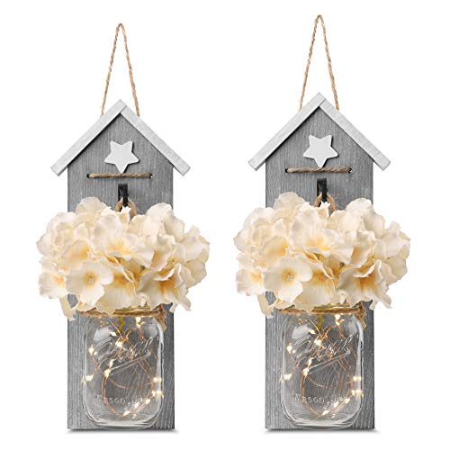 GBtroo Rustic Mason Jar Sconce Set of Two - Home Decor Hanging Wall Sconces Jars with LED Fairy Lights for Kitchen, Bathroom, Bedroom Decoration - Vintage, White and Grey Farmhouse Decorations
