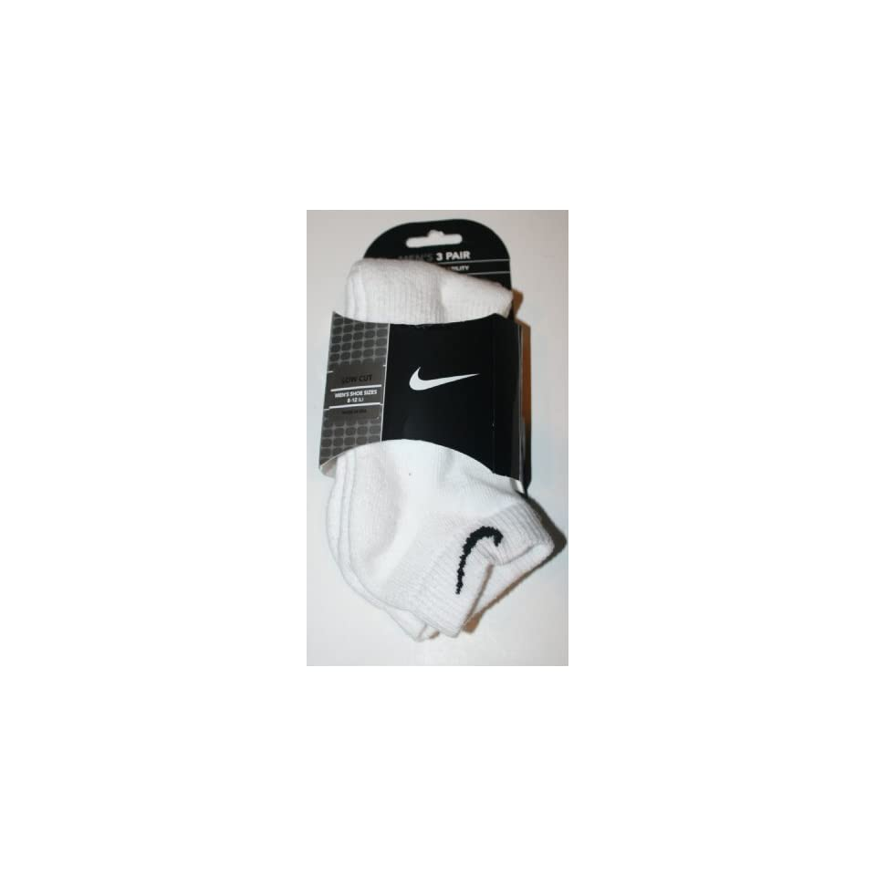 Nike 3 Pair Mens Quarter White Sock  Size 8 12