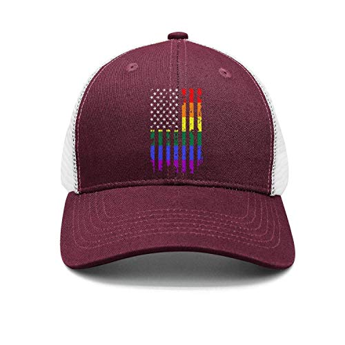 Unisex Classic Mesh Trucker Cap-Distressed Rainbow Flag Gay Pride Style Fitted Travel Sunscreen Hat Outdoors ()