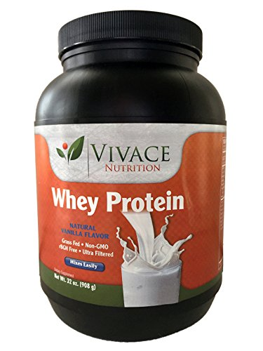 Vivace - Non GMO Grass-Fed Creamy Vanilla Whey Protein Powder , 100% Non-Denatured Native Whey Concentrate, BEST TASTING, 37 servings, 19g Of The Most Biologically Active Protein