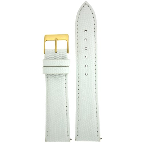 20mm Watch Band Genuine Leather Lizard Grain White Quick Release Built-in Pins Gold-tone Buckle