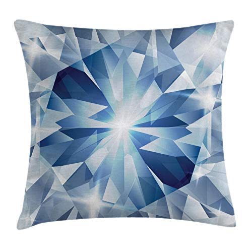 Diamonds Throw Pillow Cushion Cover by Lunarable, Sharp Shaded Group of Frozen Diamond Figures with Stylized Patterns Image Print, Decorative Square Accent Pillow Case, 26 X 26 Inches, Blue Silver