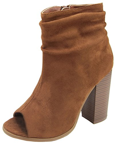 Bella Marie Women's Peep Toe Slouch Chunky Stacked Block Heel Ankle Bootie Whiskey
