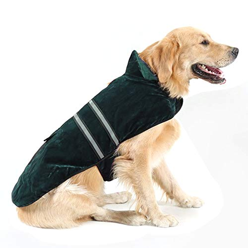 Green Pet Supplies hyx and Winter Style golden Retriever Labrador Pet Dog Cotton Garment with Reflective Tape,Size  L, Bust  64-72cm, Neck  39-44cm (color   Green)