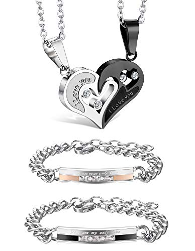 Jstyle 4Pcs Couple Necklace Bracelets Matching Set for Women Men Love Heart Pendant Necklace His & Hers Bracelets Couple Gift