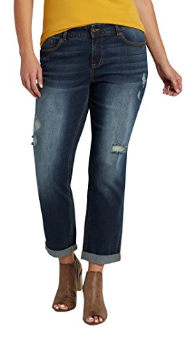 fdb99faf08c Maurices Women s Plus Size Dark Wash Boyfriend Jeans With Destruction hot  sale