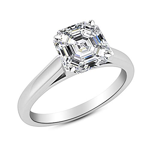 0.6 Ct Asscher Cut Cathedral Solitaire Diamond Engagement Ring 14K White Gold (D Color VS1 Clarity)
