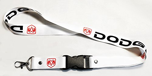 Dodge Lanyards White with Red Logo 1 inch x 22 inch Key Chain ID Badge Card Holder Hanger