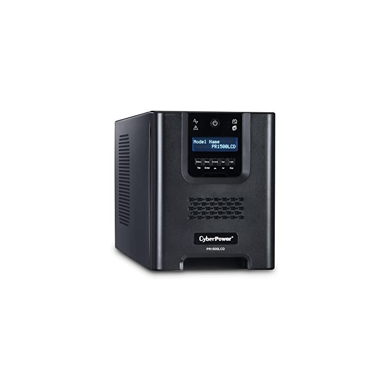 CyberPower PR1500LCDN Smart App Sinewave UPS System, 1500VA/1050W, 8  Outlets, AVR, Mini-Tower with Network Card