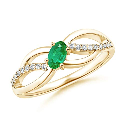 Diagonal Oval Emerald Criss Cross Ring with Diamond Accents in 14K Yellow Gold (5x3mm Emerald) Diamond Accent Criss Cross Ring